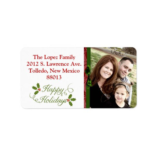 Personalized Happy Holidays Christma Mailing Label