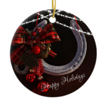 Personalized Happy Holidays Horseshoe Christmas Ceramic Ornament