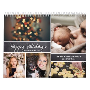 Beach Themed Personalized Happy Holidays, New Year, Photo Calendar