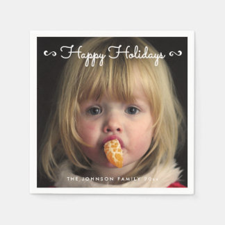 Personalized Happy Holidays Photo Paper Napkins