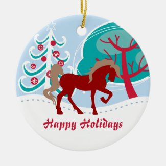 Personalized Happy Holidays Red Horse Snowy Winter Double-Sided Ceramic Round Christmas Ornament
