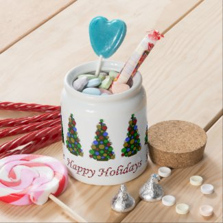 Personalized Happy Holidays Tree Candy Jar