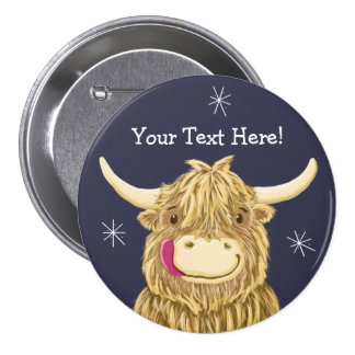 Personalized Happy Scottish Highland Cow Pinback Button