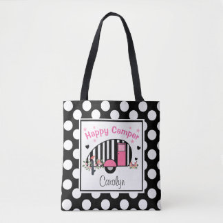 Personalized Happy Striped Camper Tote