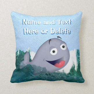 PERSONALIZED Happy Swimming Baby Whale Pillow