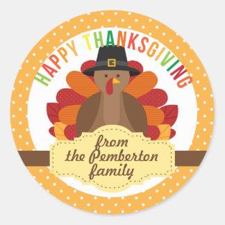Personalized Happy Thanksgiving Cute Turkey Classic Round Sticker