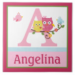 Personalized Happy Tree Owls Letter Name Tile