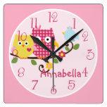 "Personalized ""Happy Tree Owls"" Nursery Clock"