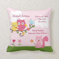 Personalized Happy Tree Owls Pillow Keepsake