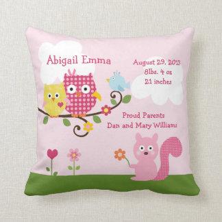 Personalized Happy Tree Owls Pillow Keepsake