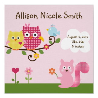 Personalized Happy Tree Owls Wall Art Poster
