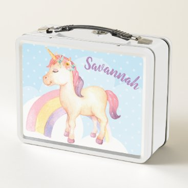 Professional Business Personalized Happy Unicorn Lunch Box with Flowers