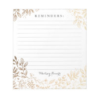 Personalized   Harvest Flowers Notepad