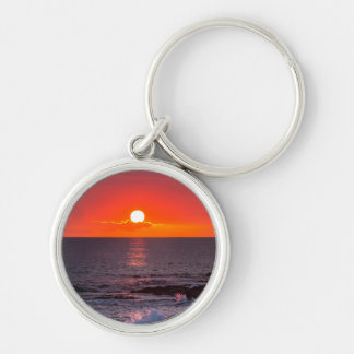 Personalized Hawaii Beach Ocean Tropical Sunset Silver-Colored Round Keychain