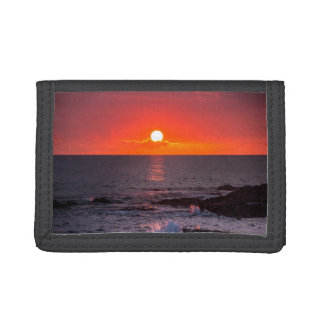 Personalized Hawaii Beach Ocean Tropical Sunset Tri-fold Wallets