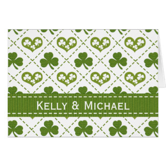 Personalized Heart and Shamrock Wedding Thank You Cards