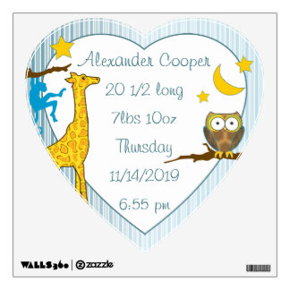Personalized Heart Baby Boy Stats Stork Wall Decal