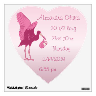 Personalized Heart Baby Stats Stork Wall Decal