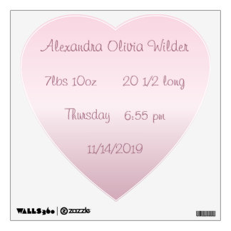 Personalized Heart Baby Stats Wall Decal