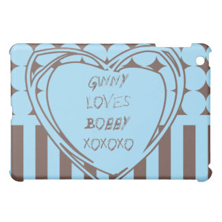 Personalized Heart Blue and Chocolate Cover For The iPad Mini