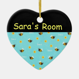 Personalized Heart Bumble Bee Door Sign Ceramic Ornament