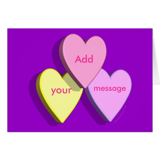 Personalized Heart Candy Card (purple)