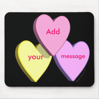 Personalized Heart Candy Mousepad Template (black)
