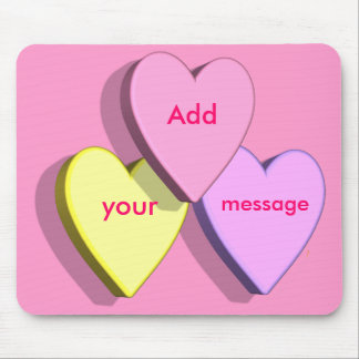 Personalized Heart Candy Mousepad Template (pink)