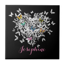 personalized heart colorful butterflies tile