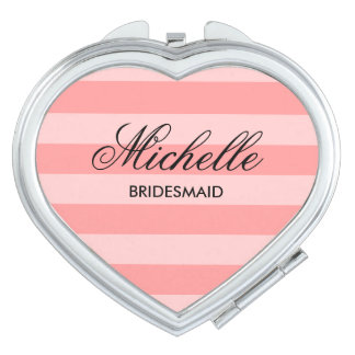 Personalized heart compact mirror for bridesmaid