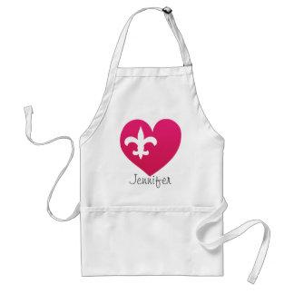 Personalized Heart de Lis apron