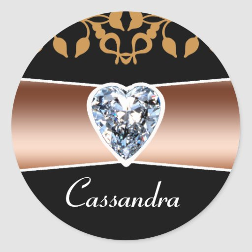 Personalized Heart Diamond Stickers on Black