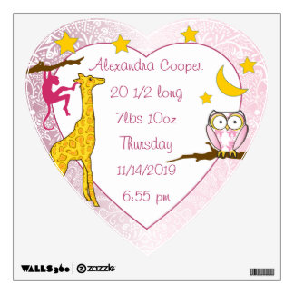 Personalized Heart Girl Baby Stat Stork Wall Decal