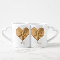 Personalized Heart Golden 50th Anniversary Mug Set at Zazzle
