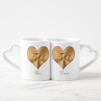 PERSONALIZED Heart Golden 50th Anniversary Mugs