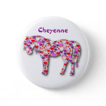 Personalized Heart Horse Pink - Button