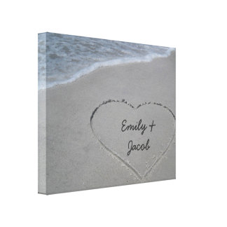 Personalized Heart in Sand Wrapped Canvas Print