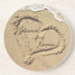 """Personalized Heart in the Sand coasters<br><div class=""""desc"""">Personalized beach theme coasters,  with a heart drawn in the sand,  and your names written in the heart!</div>"""
