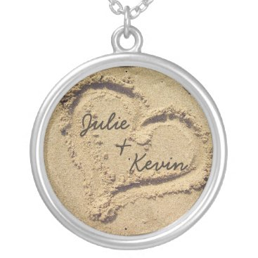 pmcustomgifts Personalized Heart in the Sand Necklace
