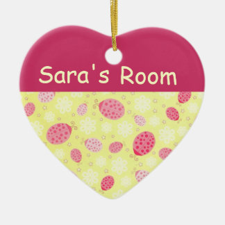 Personalized Heart Ladybug Door Sign Double-Sided Heart Ceramic Christmas Ornament