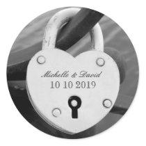 Personalized heart love lock wedding date stickers