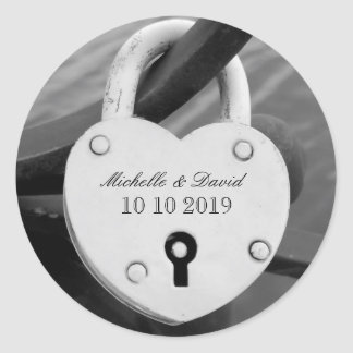 Personalized heart love lock wedding date stickers