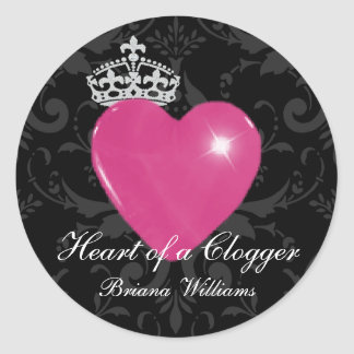 Personalized Heart of a Clogger Purple Heart Classic Round Sticker