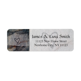 Personalized Heart on Grey Stone Wall Label