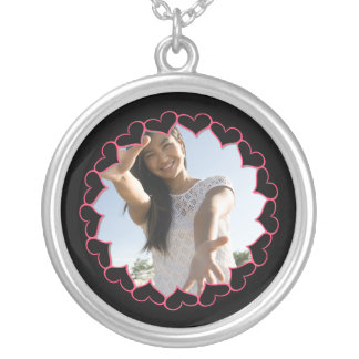 Personalized Heart Photo Frame Silver Plated Necklace