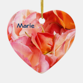 Personalized Heart Shape Ornaments Pink Roses