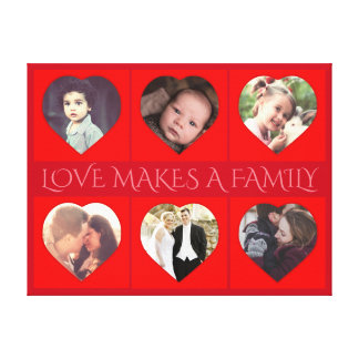 Personalized heart shaped family photo canvas print