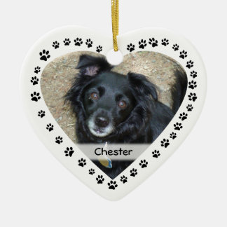 Personalized Heart Shaped Paw Print Pet Christmas Ornaments