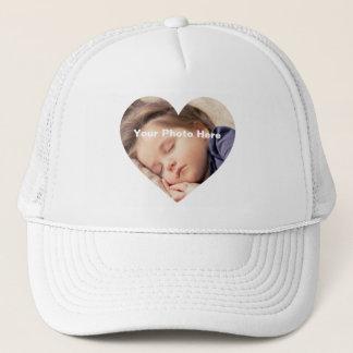 Personalized Heart-Shaped Photo T-Shirt Trucker Hat