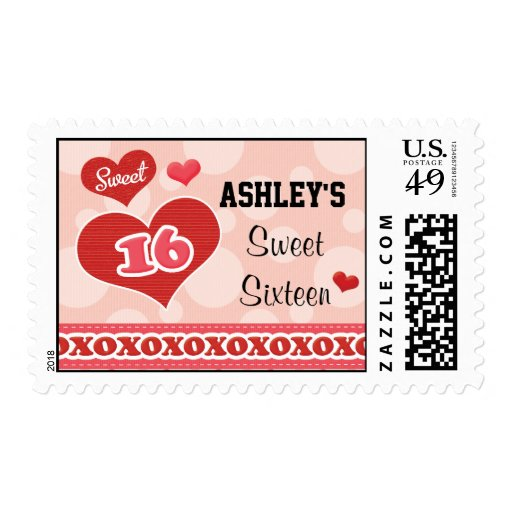 Personalized Heart Sweet Sixteen Postage Stamps